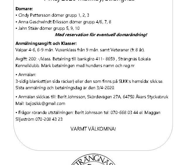 PLANERAD UTSTÄLLNING 1 MAJ 2020 INSTÄLLD